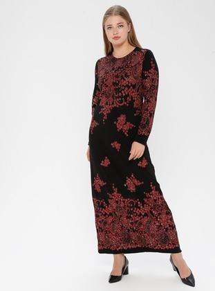 Black - Multi - Unlined - Crew neck - Muslim Plus Size Evening Dress