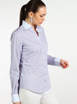 Blue - White - Multi - Point Collar - Cotton - Blouses
