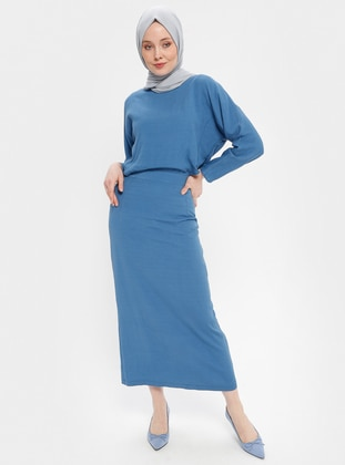 Indigo - Crew neck - Fully Lined - Dress
