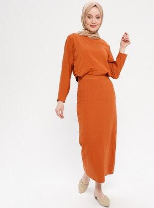 Terra Cotta - Crew neck - Fully Lined - Dress