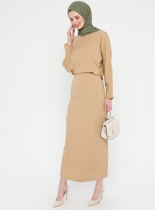 Camel - Crew neck - Fully Lined - Dress
