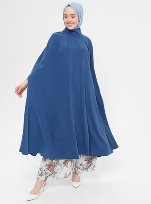 Indigo - Polo neck - Unlined - Poncho