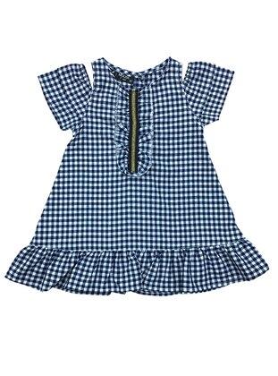 1d67b8e07ccc8 Ekoseli Fermuar Detaylı Dokuma Kız Çocuk Elbise - Lacivert