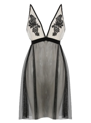 Black - V neck Collar - Nightdress - DENİZ GÜLÜ