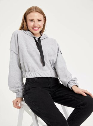 Gray - Girls` Sweatshirt - DeFacto
