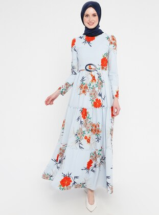 Blue - Floral - Crew neck - Fully Lined - Dress