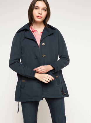 Navy Blue - Girls` Raincoat