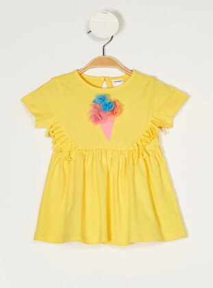 Yellow - Girls` Dress