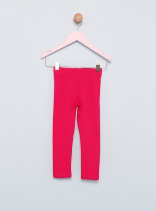 Cotton - Unlined - Pink - Fuchsia - Girls` Leggings