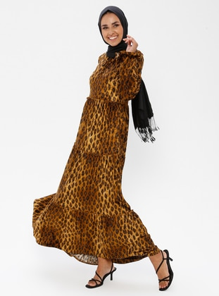 Leopard - Floral - Leopard - Unlined - Crew neck - Muslim Evening Dress