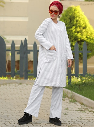 White - Stripe - Unlined - Cotton - Suit