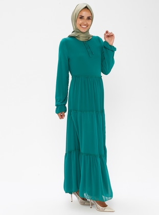 Green - Multi - Crew neck - Fully Lined - Dress