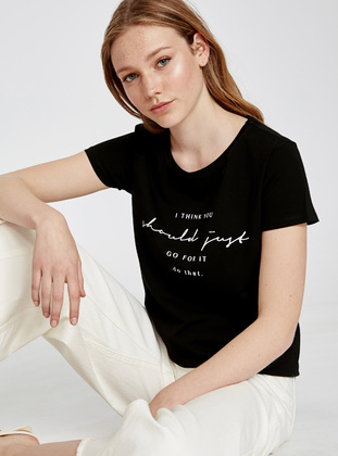 Crew neck - Black - T-Shirt - LC WAIKIKI