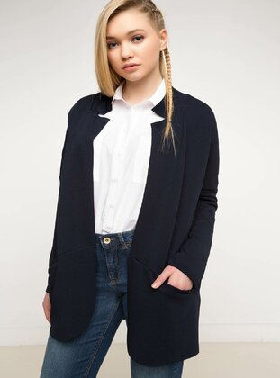 Navy Blue - Girls` Cardigan - DeFacto
