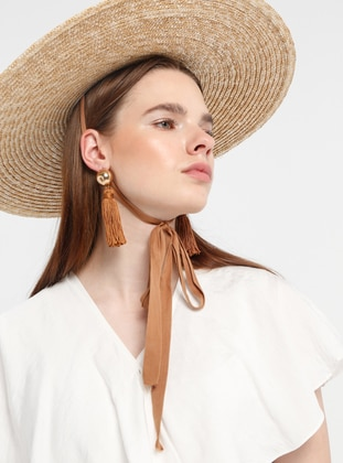 White - Ecru - Unlined - V neck Collar - Viscose - Jumpsuit