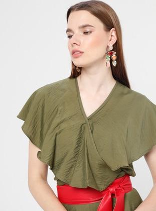 Khaki - Unlined - V neck Collar - Viscose - Jumpsuit