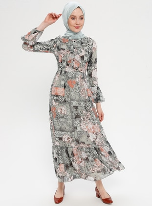Green Almond - Multi - Crew neck - Fully Lined - Dress