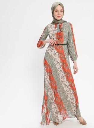 Orange - Floral - Crew neck - Fully Lined - Dress