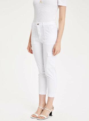 White - Girls` Pants - DeFacto