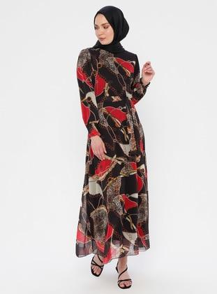 Black - Multi - Unlined - Viscose - Dress