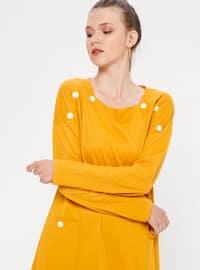 Mustard - Sweatheart Neckline - Tunic
