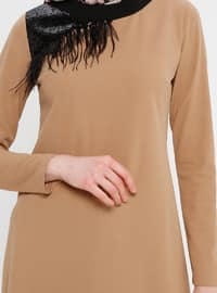 Brown - Crew neck - Tunic