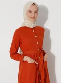 Tuğla - Fransız yaka - Astarsız kumaş - Elbise