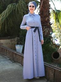 Black - Stripe - Unlined - Crew neck - Muslim Evening Dress
