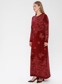 Maroon - Multi - Unlined - Crew neck - Muslim Plus Size Evening Dress