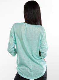 Green - V neck Collar - Jumper