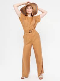 Camel - Unlined - Crew neck - Viscose - Jumpsuit