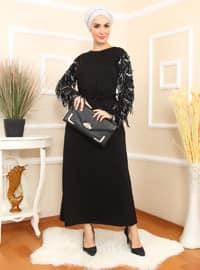 Siyah - Yuvarlak yakalı - Astarsız kumaş - Pamuk - Akrilik - Elbise