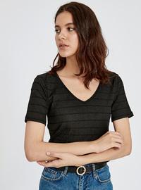 Stripe - V neck Collar - Black - T-Shirt