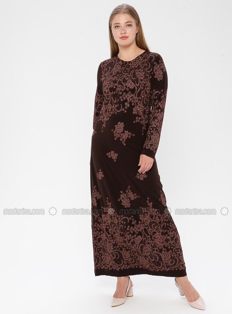 Brown - Multi - Unlined - Crew neck - Muslim Plus Size Evening Dress