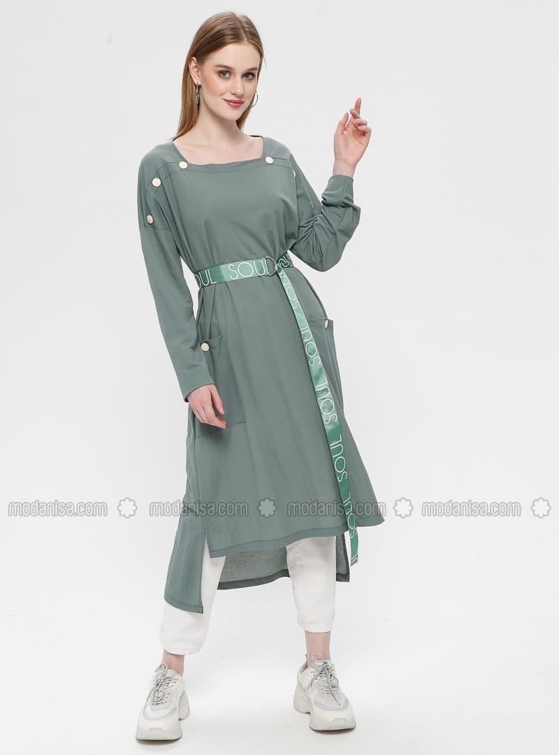 Green Almond - Sweatheart Neckline - Tunic