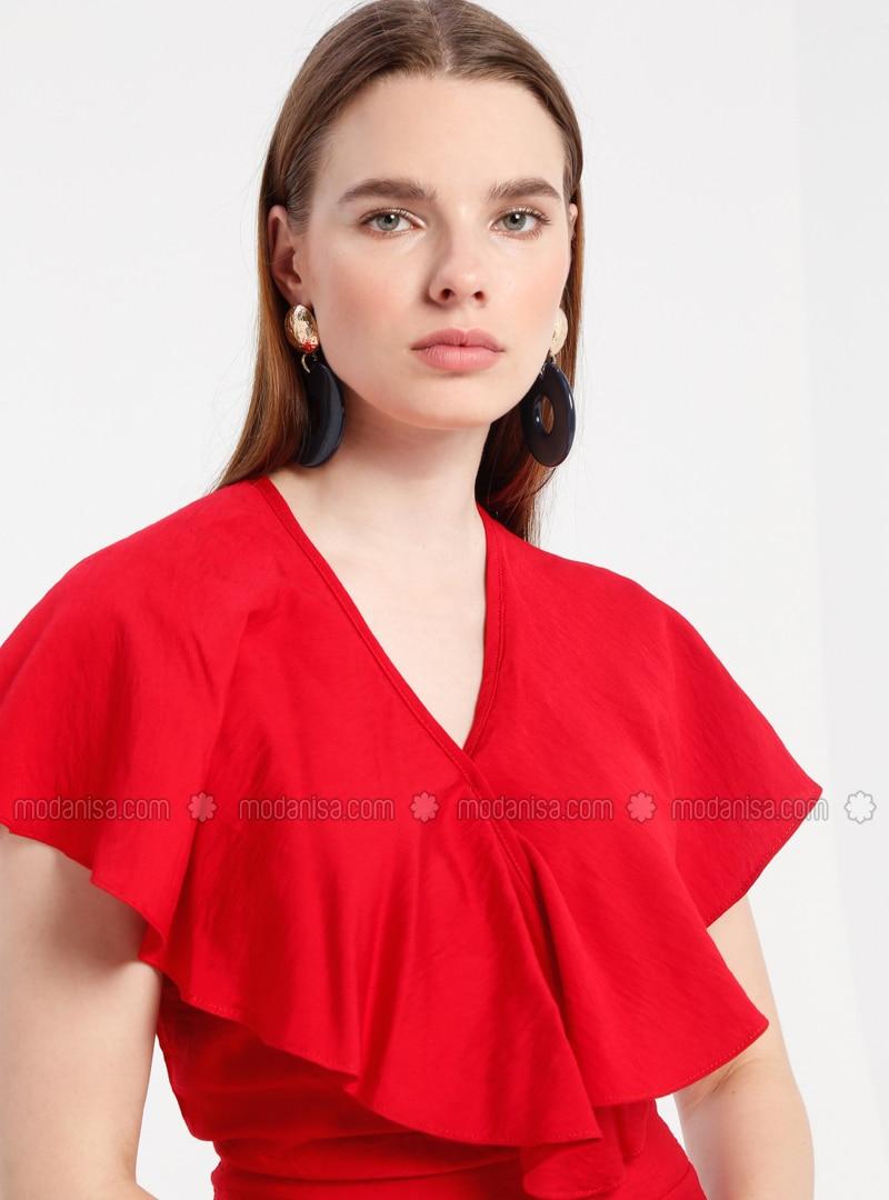 Red - Unlined - V neck Collar - Viscose - Jumpsuit