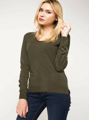 Khaki - Girls` Pullovers - DeFacto