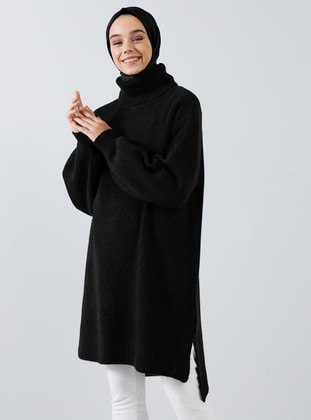 Black - Polo neck - Acrylic -  - Tunic