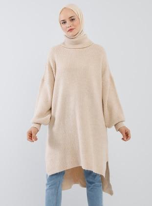 Beige - Polo neck - Acrylic -  - Tunic