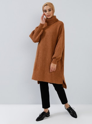 Brown - Tan - Polo neck - Acrylic -  - Tunic