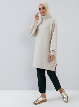 Beige - Ecru - Polo neck - Acrylic -  - Tunic