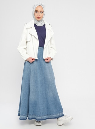 Blue - Unlined - Cotton - Denim - Skirt