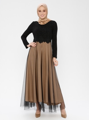 Black - Beige - Fully Lined - Crew neck - Muslim Evening Dress