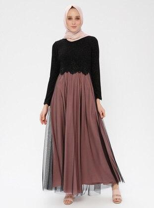 Black - Powder - Fully Lined - Crew neck - Muslim Evening Dress