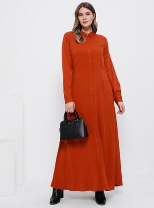 Cinnamon - Unlined - Point Collar - Cotton - Plus Size Dress