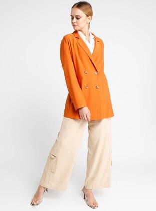 Orange -  - Unlined - Shawl Collar - Viscose - Jacket
