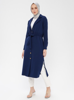 Blue - Indigo - Unlined - Shawl Collar - Topcoat