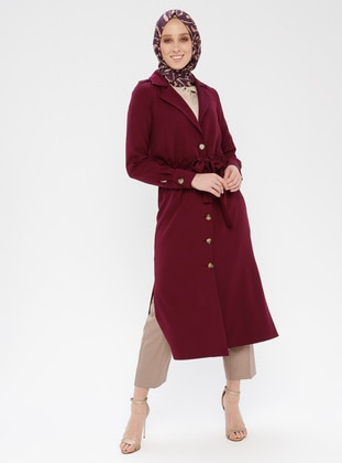 Plum - Unlined - Shawl Collar - Topcoat