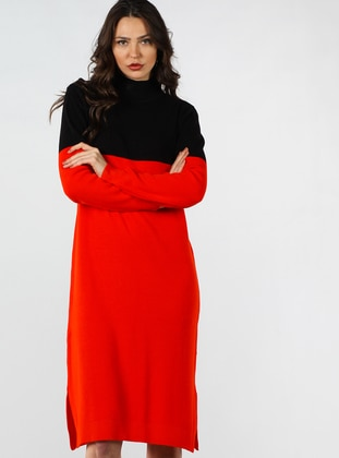 Red - Black - Polo neck - Fully Lined - Cotton - Dress