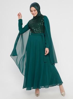 Green - Emerald - Fully Lined - Crew neck - Muslim Evening Dress